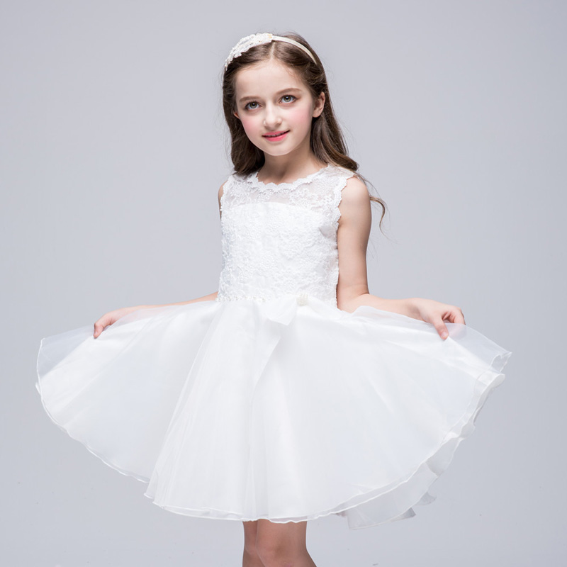 Girl Dress Party Wedding Pageant Princess Children Summer Clothes Girl Ball Gown Dress White Bow(China (Mainland))