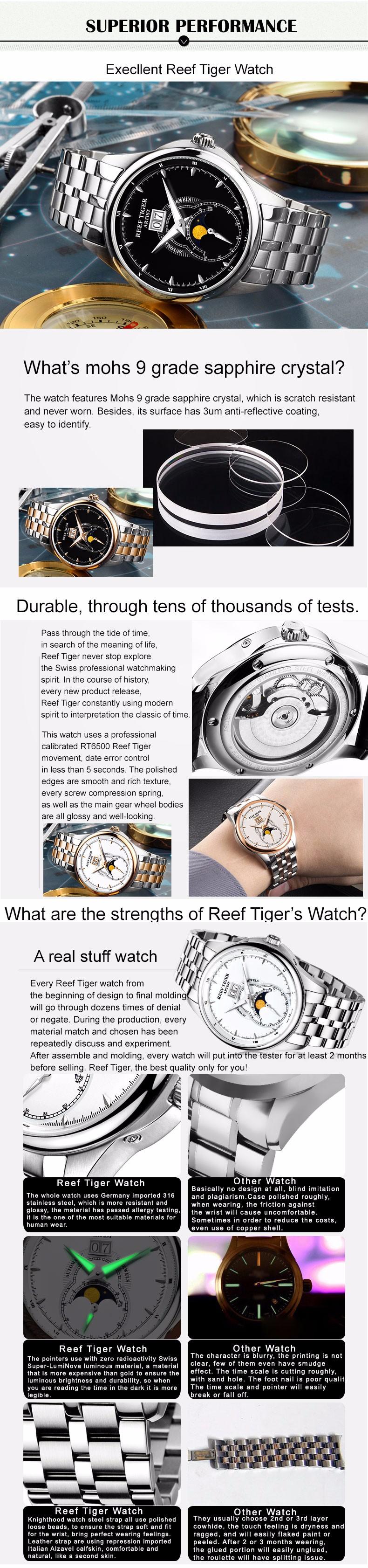 Риф Тигр/RT Старинные Часы для Мужчин Moon Phase Часы Из Нержавеющей Стали Большой Дата Автоматические Часы RGA1928