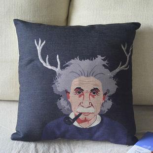 Einstein and antlers cushion cover,seat cushion,Creative personality cushion, Home Decor