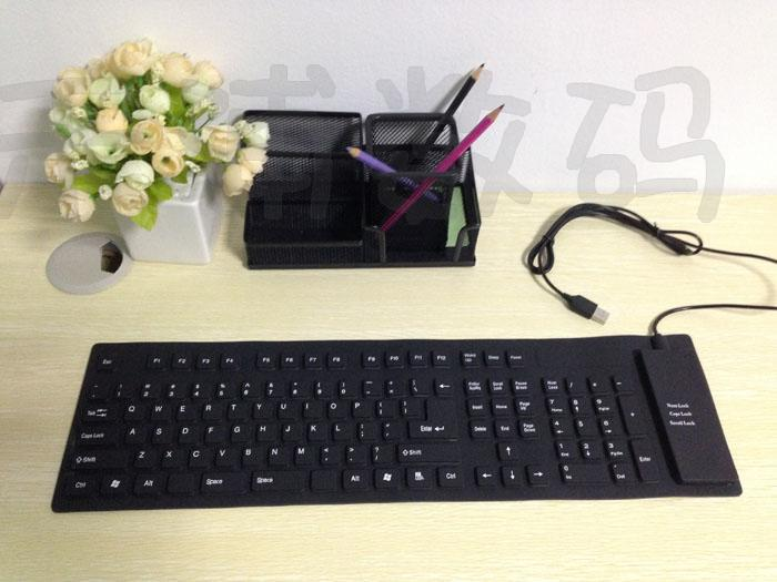 2013 New USB silicone keyboard, foldable, waterproof and dustproof keyboard,USB flexible keyboard free shipping(China (Mainland))