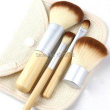 1set 4Pcs Bamboo Elaborate Powder Blending Eyeshadow Makeup Brushes Professional Cosmetic Make Up Brush Set Best
