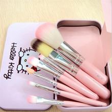 Sweet Girl Hello Kitty Pink Iron Case Makeup Brush Kit 7 PCS make up brushes set Pro Quality Cosmetic Tool