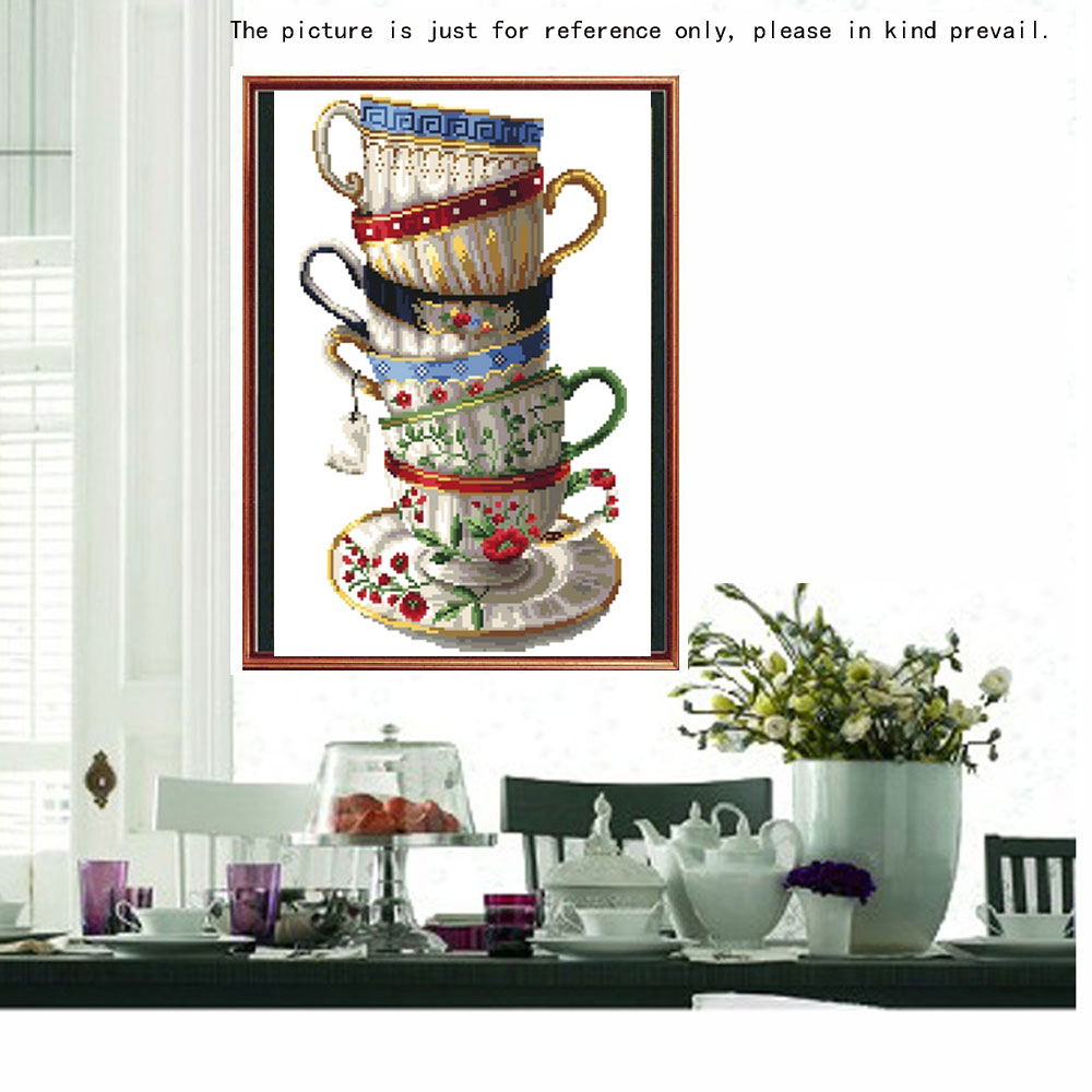 DIY Handmade Room Decal Diamond Painting Set Coffee Cups Resin Rhinestone Pasted Cross Stitch for Home Decoration 20 * 35cm(China (Mainland))
