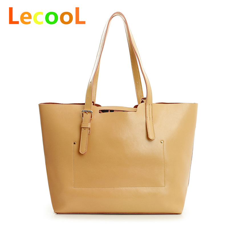 BUY ONE GET TWO-Women genuine cow leather bags fashion candy colors large compostie handbags women tote shoulder bags 2016 NEW(China (Mainland))