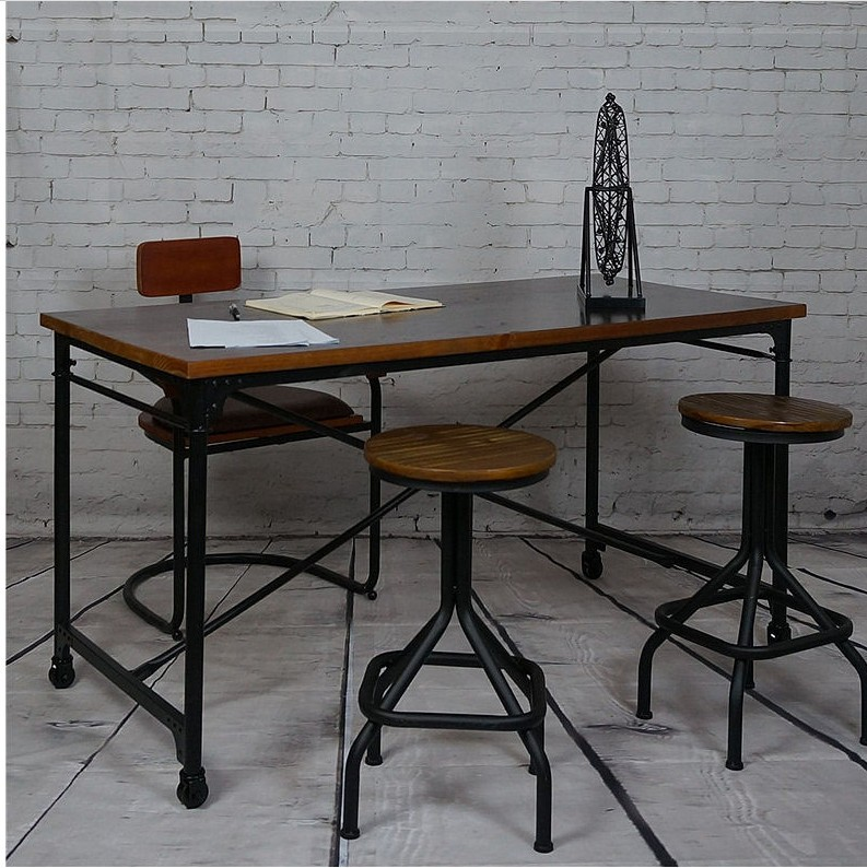 Original Retro Slide Wood Office Desk Iron Leisure
