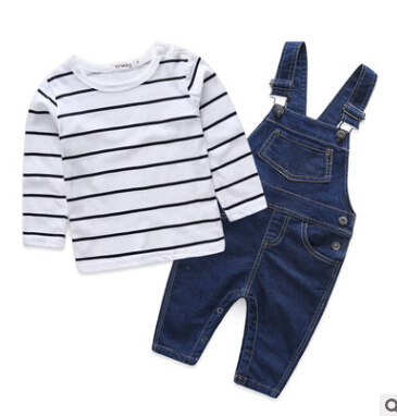 Hot retail 2016 spring/autumn new arrival children clothing suits kids boys long-sleeved striped T-shirt+denim overalls pants(China (Mainland))