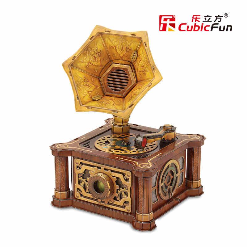 Cubicfun 3D paper model DIY toy children birthday gift puzzle Retro gramophone model phonograph music box player birthday P665h(China (Mainland))
