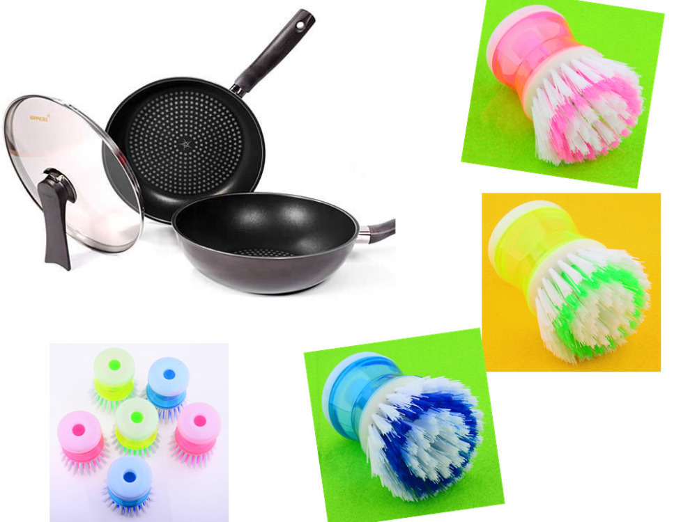 6 pcs Plastic Durable Hand Protection Hydraulic Wash dishes pan brush cleaning kitchen tools Accesories(China (Mainland))