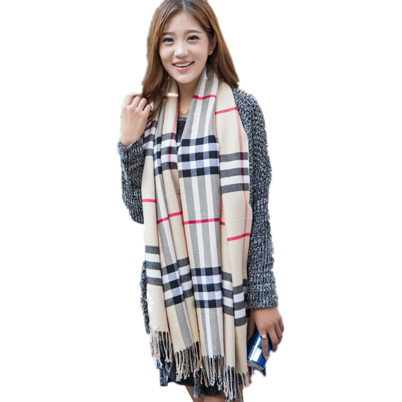 LOWEST PRICE sales Fashion Christmas Winter Plaid Cashmere Blend Knitted Tassels Long Scarves Free Shipping(China (Mainland))