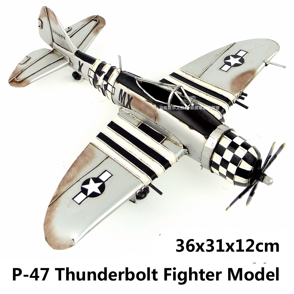 WWII US P-47 Thunderbolt Fighter Plane Model handmade airplane vintage metal craft home office bar decoration gift(China (Mainland))