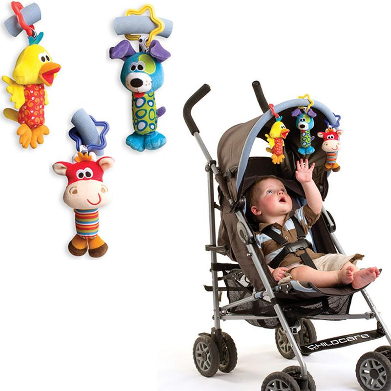 New 2015 Baby Toys Animal Stick Rattle Grasping Baby Educational Toys Lathe Hanging Rattles Hand Bell Multifunctional Plush Toy(China (Mainland))