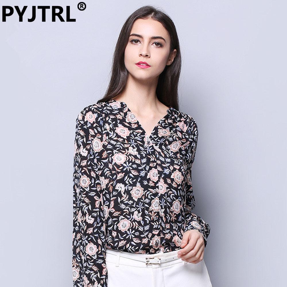 Women Blouses 100% Real Silkworm Silk Shirt European Long Sleeve V Collar Print Casual Blouse Ladies Checked Shirts(China (Mainland))