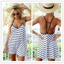 2015 Summer Women Mini Dress V-neck Spaghetti Strap Black White Striped Sleeveless A-Line Dress Women Sexy Club Dress vestidos(China (Mainland))
