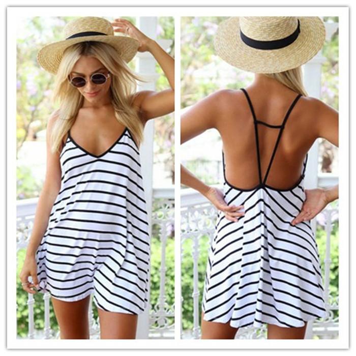 2015 Summer Women Mini Dress V-neck Spaghetti Strap Black White Striped Sleeveless A-Line Dress Women Sexy Club Dress vestidos(China (Mainland))