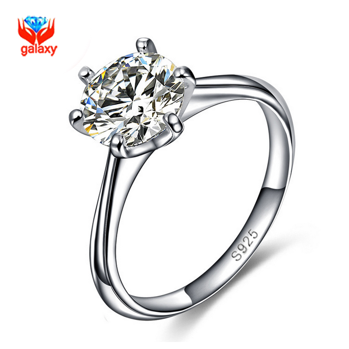 GALAXY 925 Sterling Silver Jewelry Classic Engagement Ring Hearts and Arrows 8mm CZ Diamond Rings Women Size us 5 6 7 8 9 YH407(China (Mainland))