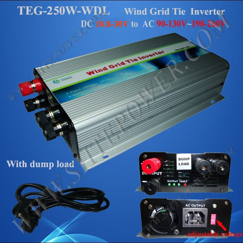 inverter wind 250w 10.8-30v dc input grid tie pure sine wave AC 90-130V/190-260V output wind grid tie inverter(China (Mainland))