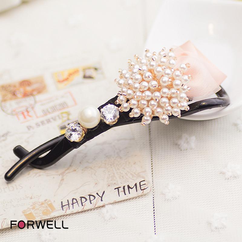 Women girls handmade rhinestone beaded flowers bow hair clip hair ornaments shilly cross clip ponytail clip hairpins jewelry(China (Mainland))