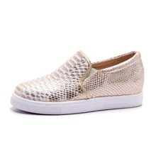 2016 new arrive gold silver women flats round toe Soft Leather high quality fashion leisure casual Spring Autumn flat shoes(China (Mainland))