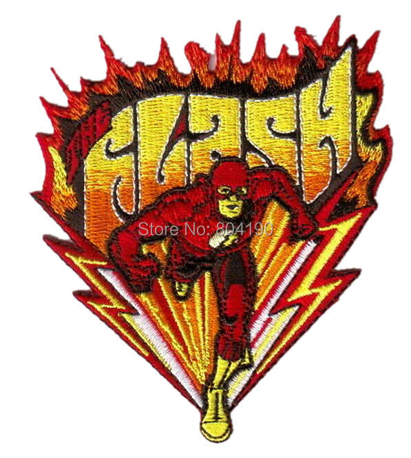 "4"" Comics The Flash Running Figure Name Logo Embroidered Uniform Movie Iron On Sew On Patch Custome TRANSFER MOTIF APPLIQUE(China (Mainland))"
