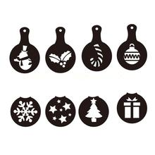 8 PCS Christmas Plastic Coffee Stencil for Latte Art/Cappucino