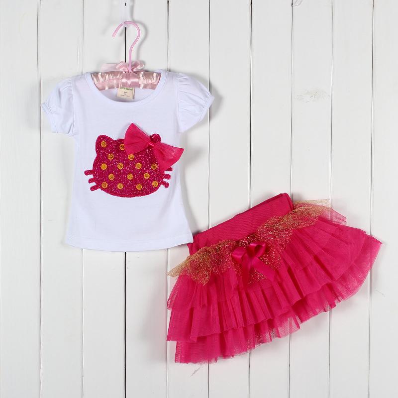 2014 new girls clothing sets hello kitty T-shirt + tutu skirt kids clothing children summer garment baby girl causal sets(China (Mainland))