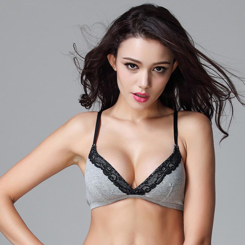 100% Cotton Bra Brand 40C 38C 36B 34B 32A Bras soutien gorge Grey Color Deep V Sex Lace Wire Free bandeau Bikini Bra DE0033(China (Mainland))