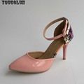 Women Ankle Strap Valentine Shoes Sexy Ladies High Heels Fashion Pointed toe Green Pink White Ladies