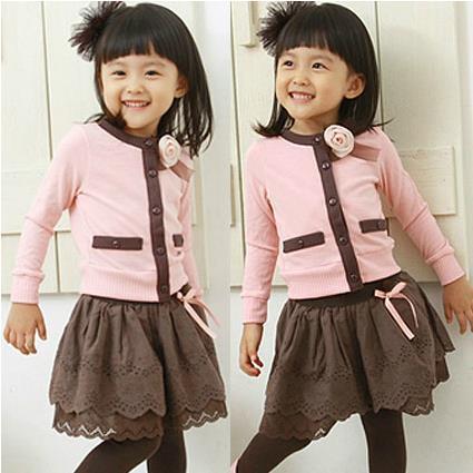 In stock!! Children's clothing set 2014 girls child spring autumn baby 2pc set pink girl dress set free shipping