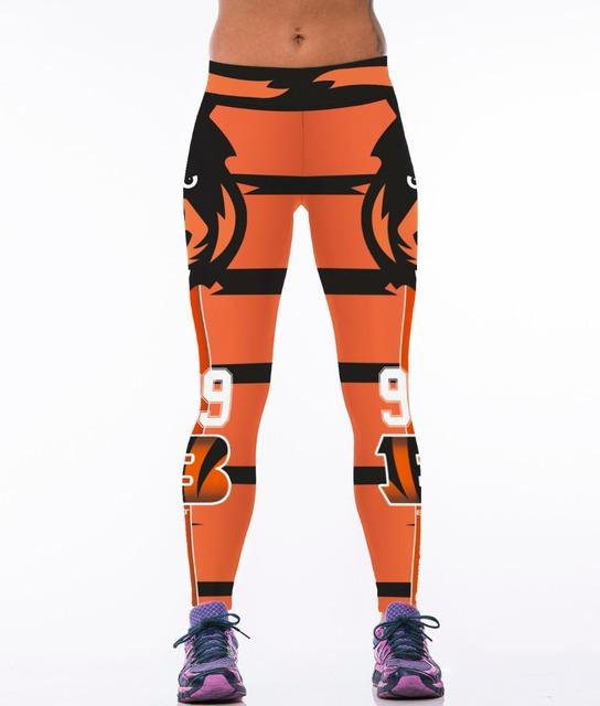 Футбольная тема 3D напечатаны леггинсы головы тигра оранжевый женщин спортивные леггинсы ...
