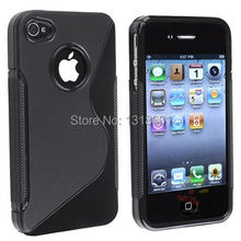 Free Shipping Soft TPU Silicone Gel S line Skin Phone Case Cover For Apple iphone 4 4S 4GS(China (Mainland))