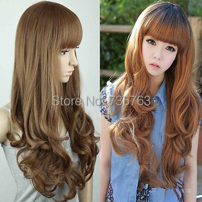 xiuli 00352 New Long Wavy Fluffy Womens Girls with Fringe Hair Full Wigs<br><br>Aliexpress