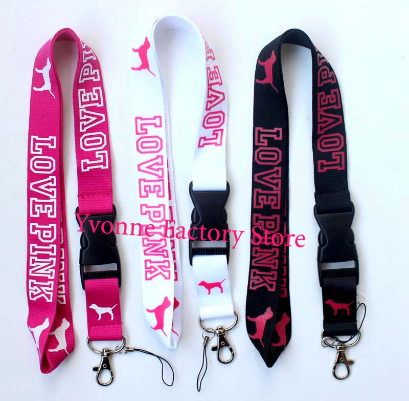 New 1000 pcs VS Love Pink Lanyard Detachable Keychain iPod Camera Strap Badge ID Cell Holder 3 colors can pick wholesale(China (Mainland))