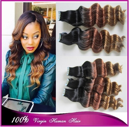 Фотография Super 7a grade quality 1b/33/27# 100 virgin peruvian hair ombre deep wave tape hair extensions 300g/lot