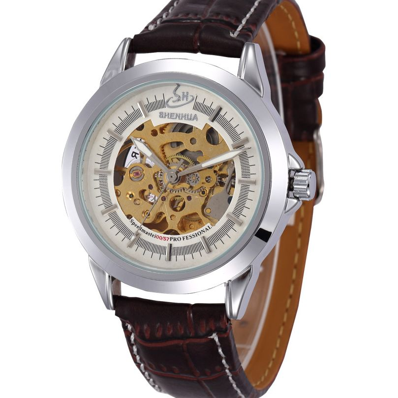 2016 Casual Men Hollow Out Watch Auto Mechanical Genuine Leather Wrist Watch Gift Free Ship(China (Mainland))