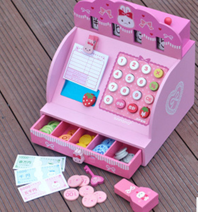 New wooden toy Simulation Cash Register Woode BlocksBaby toy baby educational toy(China (Mainland))