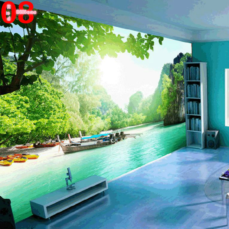Large custom any size mural tv wall sofa background wall for Custom size wall mural