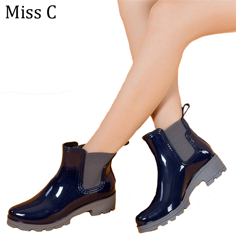 2016 Rain Boots Water Rubber Shoes For Women Fashion Elastic Band Slip On Martin Ankle Boots 35-41 Black/Red/Blue WBS193(China (Mainland))