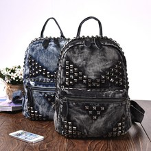 Trendy Rivet Style Vintage Fashion Denim Cotton Women Backpacks for Girls Jeans Backpack Casual Sport Bags Travel Women Bag(China (Mainland))