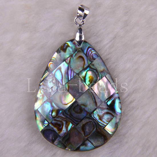 Free Shipping New without tags Fashion Jewelry Natural Blue New Zealand Abalone Shell Pendant 1Pcs RK721(China (Mainland))