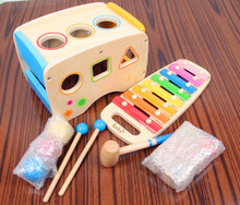 Free shipping classic wooden educational toys with multifunction muisc toy xylophone blocks punch ball  game for baby kids child(China (Mainland))