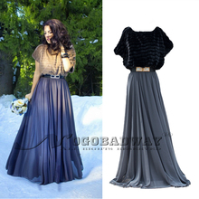 2015 autumn long dress women plus size chiffon faux fur casual maxi vestidos slim elegant floor-length elastic waist dresses(China (Mainland))