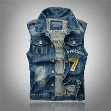 Denim Jeans Vest Men Letter Embroidery Male Jeans Waistcoat Hole Washed Cowboy Jeans Denim Vest Sleeveless Plus Size 3XL,PA075(China (Mainland))