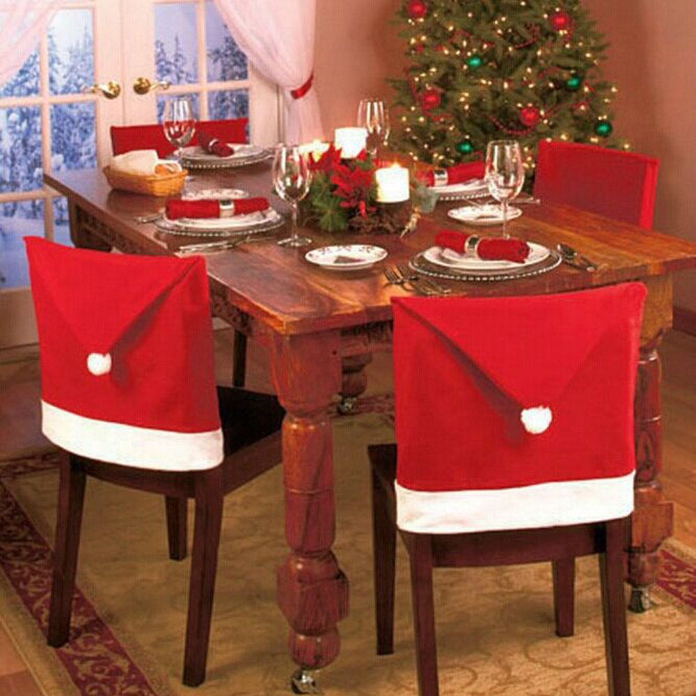 6pcs/lot Santa Claus Hat Chair Cover Christmas Decoration for Home Party Holiday Festive and Party Supplies(China (Mainland))