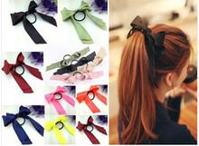 1 шт. симпатичные женщин многоцветный атласной лентой с бантом ленты для волос веревки Scrunchie хвост держатель повязка на голову аксессуары для волос