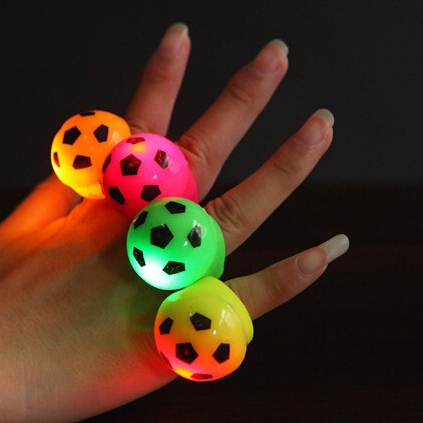 36PCS/Lot 4 colours football LED flashing finger ring luminous finger ring party favors LED light up ring for kids children toys(China (Mainland))