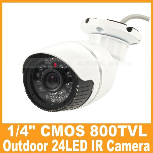 "Outdoor Waterproof CCTV Camera 1/4"" CMOS 800TVL Video Security Camera 24LED IR Night Vision Bullet Camera Cam System(China (Mainland))"
