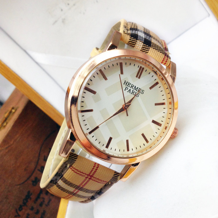 Plaid leather strap watch high-end fashion quartz wrist watch seconds hand round dimension stainless steel table(China (Mainland))