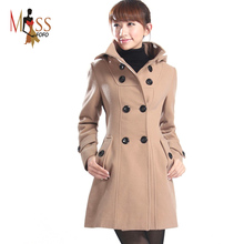 women's Hooded Double Breasted Trench Wool Coat long Winter Jackets parka coats Outerwear for lady good quality C0229(China (Mainland))