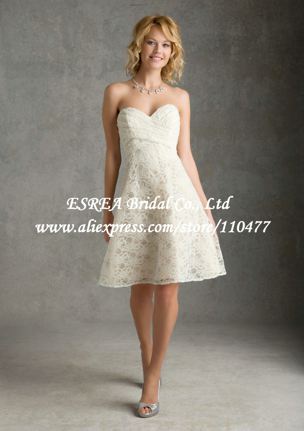 Sweetheart vogue short lace bridesmaid dress beige wedding for Beige dress for wedding guest