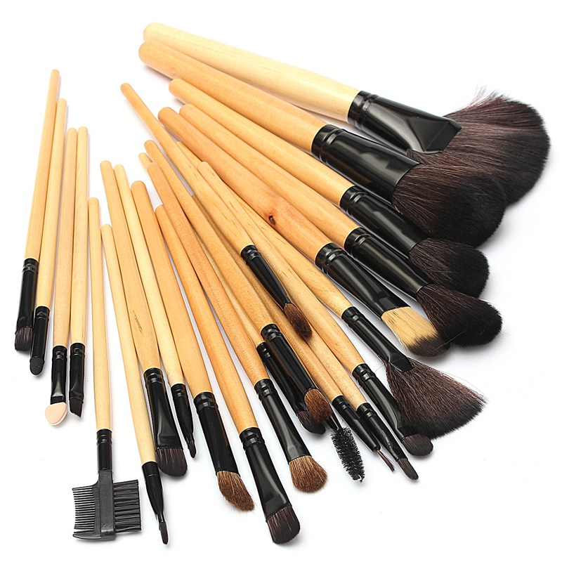 Professional 24Pcs Wood Makeup Brushes Set Kit Cosmetic Eyeshadow Lip Blush Brush Tools PU Leather Bag Free Shipping(China (Mainland))